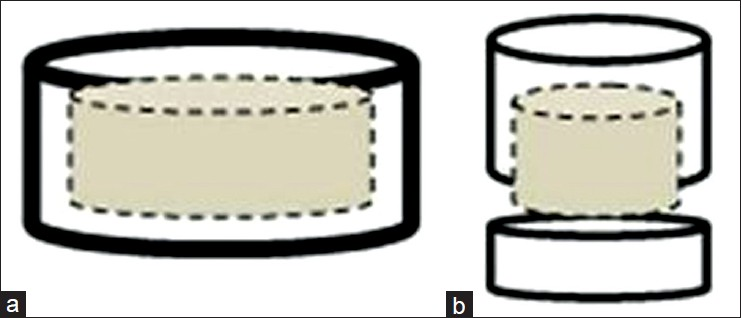 Figure 3: (a) Larger diameter implant abutment has greater retention. (b) Smaller diameter implant abutment has lesser retention