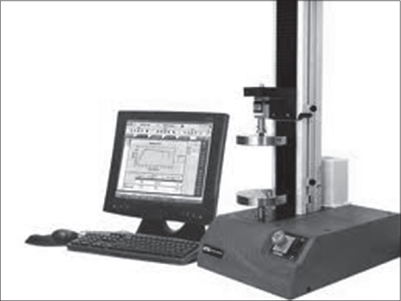 Figure 1: 3342 Instron universal testing machine and the load cell used (10 N)